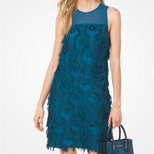 Teal Michael Michael Kors Feather Dress (NWT)